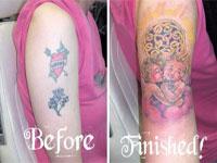 Alte tattoos überstechen auf diesen bildern sind tattoos zu sehen die